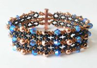 Two Row, Crystal and Pearl Bracelet Jewellery Kit with SWAROVSKI Sapphire and bronze